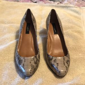 Ann Taylor leather 🐍 snake skin kitten heels